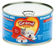GRAND konzerva štěně, kočka Delikates masová směs 405g